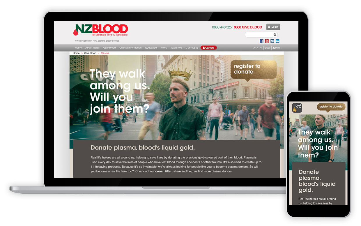 NZ Blood - Plasma Landing Page